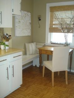 great idea for seating in a small kitchen nook