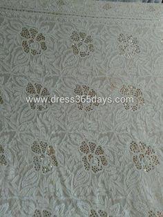 Mukesh work with Lucknow Chikankari Embroidery Kurti Dress Material