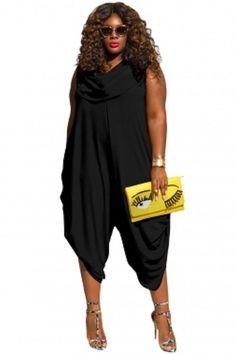 14cd5d0526cc3 Black Sexy Cowl Neck Plus Size Loose Fitted Harem Jumpsuit 1-3X  Unbranded…