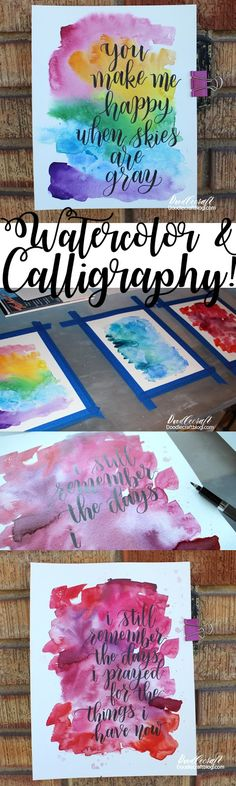 Watercolor Wash & Calligraphy Lettering Quotes (Here's the affiliate links for the things I'm using) You will need: watercolor. Calligraphy For Kids, Calligraphy Tutorial, Calligraphy Letters, Caligraphy, Modern Calligraphy, Watercolor Quote, Watercolor Cards, Watercolor Ideas, Watercolor Painting