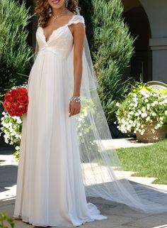 Robe de mariée enceinte col en v plongeant manches courtes plis mousseline de soie [#ROBE20210] - robedumariage.com