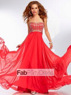 A-line Sweetheart  Beading  Sleeveless Floor-length Chiffon Prom Dresses / Evening Dresses