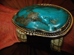 """NATIVE AMERICAN TURQUOISE LEATHER BRACELET119g Sterling Silver G.CHAVEZ,3.5""""wide 