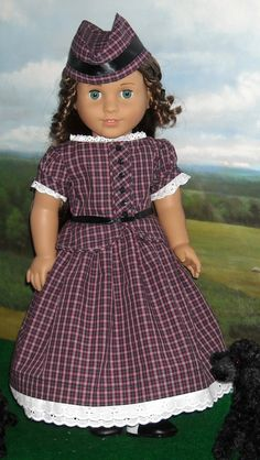 RESERVED  1850's Tartan Plaid Dress with by SugarloafDollClothes, $85.00
