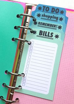 I like how they are staggered. Printable LISTS for Planners Aqua and Pinks by YellowPaperHouse