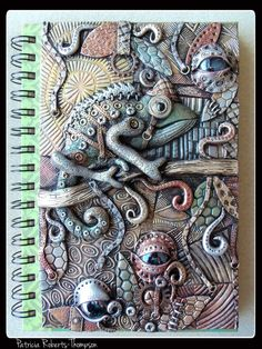 Steampunk lizard journal cover, polymer clay. By Patricia Roberts-Thompson.