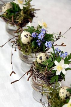 Easter Flower Decorations & Centerpieces that'll spreads the festive charm in the mos Christmas Table Decorations, Decoration Table, Flower Decorations, Christmas Ornaments, Easter Garden, Easter Flowers, Spring Home Decor, Nature Decor, Succulents Diy