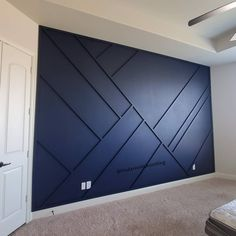 DIY Projects diy modern moulding accent wall 19 Youth Heroes – A Double Standard As a boy I danc Home Design, Design Salon, Design Ideas, Navy Accent Walls, Accent Wall Bedroom, Wainscoting Bedroom, Wainscoting Ideas, Accent Wall Designs, Dark Blue Walls