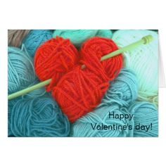 Cute wool heart with knitting needle greeting card - Saint Valentine's Day gift idea couple love girlfriend boyfriend design