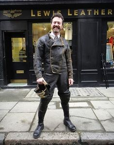 Authentic old-school racing gear, from Lewis Leathers in London. Apparently they can recreate production patterns from vintage jackets and pants.