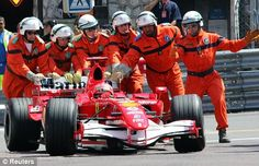 Michael Schumacher is pushed to the pits after stopping in the final few seconds of qualifying for Monaco Grand Prix in 2006 Olivier Panis, Jody Scheckter, Damon Hill, David Coulthard, Mark Webber, Alain Prost, Jackie Stewart, Nico Rosberg, Monaco Grand Prix