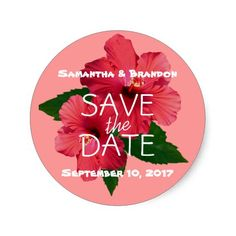 Coral Pink Hibiscus Round Save the Date Stickers