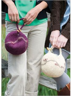 Dumpling Bags by Sharon Dreifuss  - one of 6 Free Felted Knitting Patterns