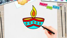 How to Draw a Diwali Diya Easy Drawings For Kids, Drawing For Kids, Painting For Kids, Light Painting, Painting On Wood, Beautiful Scenery Drawing, Cute Easy Doodles, Diwali For Kids, Peacock Canvas