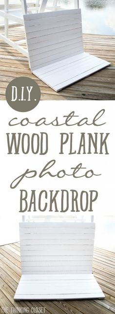 DIY Coastal Wood Plank Photo Backdrop    Here's the full step by step run-down for how to make your own set of pallets for a professional-looking photo backdrop inspired by a beachy lifeguard stand!  Tutorial includes drawn-out plans, helpful photos, and of course, a curious kitty cat!