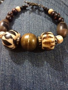 Bone, Brass, and Wood bracelet, Bold and Chunky, men's bracelet, men's jewelry, African bracelet, beaded bracelet by TwistedRoseMetal on Etsy