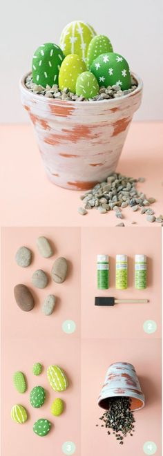 "Hand painted ""cactus"" stones"