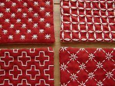 〔受注製作〕刺し子のminiコースター(赤)の画像4枚目