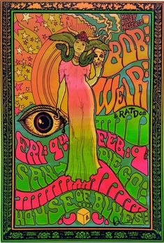 Bob Weir of The Grateful Dead Psychedelic rock poster from darrengrealish on Etsy. Saved to Art! Rock Posters, Band Posters, Film Posters, Posters Vintage, Vintage Concert Posters, Retro Posters, Vintage Movies, Psychedelic Rock, Psychedelic Posters