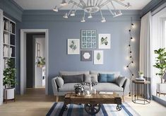Blue Living Room Decor - What color rug goes with blue couch? Blue Living Room Decor - What is a good accent color for light blue? Blue Living Room Decor, Paint Colors For Living Room, Living Room Grey, Home Living Room, Interior Design Living Room, Living Room Designs, Small Living Room Design, Gray Interior, Room Wall Colors