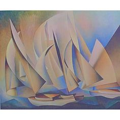 Charles Sheeler Pertaining To Yachts And Yachting 1922 Original Collagraph Bauhaus, Charles Sheeler, Modern Art, Contemporary Art, Cubism Art, Philadelphia Museum Of Art, Philadelphia Pa, Poster On, Art Plastique