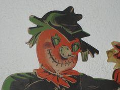 Vintage early halloween scarecrow honeycomb corn stalk pumpkin decoration orange black