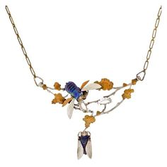 Art Nouveau French Silver & Brass Art Glass Bug Necklace | From a unique collection of vintage more necklaces at https://www.1stdibs.com/jewelry/necklaces/more-necklaces/