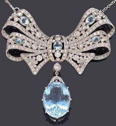 Rosamaria G Frangini | High Antique Jewellery |Art Deco Aquamarine and Diamonds Necklace