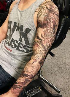 Phoenix Tattoo Sleeve, Dragon Sleeve Tattoos, Forearm Tattoos, Arm Band Tattoo, Hand Tattoos, Tiger Tattoo Design, Phoenix Tattoo Design, Tatoo Designs, Tattoo Sleeve Designs