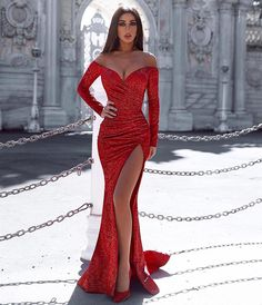 New Design Sexy Red Prom Dresses Long Sleeves Mermaid Front Split for Sweetheart Party Evening Wear Gowns Sparkly Prom Dresses, Prom Girl Dresses, Prom Dresses Long With Sleeves, Prom Outfits, Mermaid Prom Dresses, Ball Dresses, Evening Dresses, Prom Dresses Long Open Back, Red Sparkly Dress