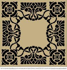 Art nouveau stencil pattern - Free Vector Art