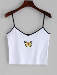Contrast Cropped Butterfly Cami Top - White S Cami Tops, Cute Crop Tops, Teen Crop Tops, Crop Tops For Tweens, Cami Crop Top, Crop Shirt, Camisole Top, Crop Top Outfits, Cute Casual Outfits