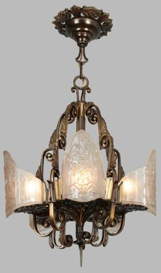 Vintage Art Deco light fixture   From a story on slipper shade fixtures C 30 s Art Deco Victorian Ceiling light fixture Chandelier  . Art Deco Lighting Fixtures Chandeliers. Home Design Ideas