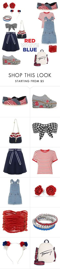 """""""Red, White and Blue for me and you."""" by mariaoneill2002 ❤ liked on Polyvore featuring TOMS, Schutz, Ephemera, Zimmermann, Miss Selfridge, Dorothy Perkins, Bling Jewelry, Berry, Forever 21 and Tommy Hilfiger"""