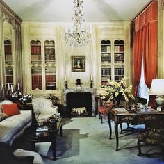 (John Yunis)  Champ Soleil, Newport, Part 8: Library, looking north, as decorated by Jansen for the Goelets. This room is directly off of the Entrance Hall- it's doorway is visible on the left in Part 5.  From the Jansen book  #johnyunis #garden #decorazioni #decor #deco #decorat #decorate #decoração #decoración #decoration #decorations #maison #casa #instastyle #newport #rhodeisland #ri #mansion #estate #historic #jansen