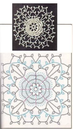 Lovely crochet square that is very lace with a flower motif in the middle. Filet Crochet, Freeform Crochet, Crochet Diagram, Crochet Chart, Thread Crochet, Irish Crochet, Crochet Stitches, Crochet Motif Patterns, Crochet Blocks