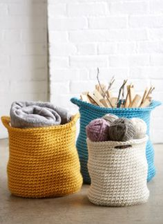 Free Cache Baskets Crochet Pattern - Stash all of your stuff in these stylish crochet baskets.