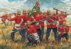 Los últimos casacas rojas mueren en torno a su bandera en Isandlwana, por gentileza de Giuseppe Rava. Más en www.elgrancapitan.org/foro