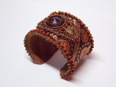 Bead Embroidery Bracelet Cuff - Seed beads jewelry Swarovski - Silk brocade Bronze Braun Gold Orange
