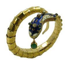 An Enamel, Diamond, Garnet, Chrysophrase and Gold Snake Bracelet at 1stdibs