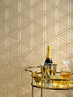 Facet FAC-02 Feldspar  Facet's tessellation of wood veneers with a foil underlay makes a beautiful addition to interiors. Rich materiality and metallic accents give the wallcovering a Deco edge.  #ModernWallcovering #AccentWall #Wallpaper  #WallDesign #InteriorDesign #GoldAesthetic