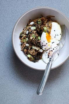 Pin for Later: 70+ Vegetarian Meals That Aren't Pasta Enoki Mushroom and Kimchi Bowl With Poached Eggs Get the recipe: enoki mushroom and kimchi bowl with poached eggs
