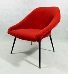 """Fotel """"Muszelka"""", typ Ewa, Polska, lata 60. Fotel o metalowej konstrukcji, stabilny, bardzo wygodny. Kilka…"""
