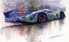 Yurly Shevchuk   WATERCOLOR    Porsche 917 Psychodelic  Painting