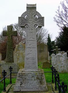 The grave of Dante Gabriel Rossetti, Parish Church of All Saints, Birchington, Kent    Here sleeps / Gabriel Charles Dante Rossetti / honoured under the name of / Dante Gabriel Rossetti / among painters as a painter / and among poets as a poet / born in London / of parentage mainly Italian 12 May 1828 / died at Birchington 9 April 1882    The memorial Celtic Cross was designed by Ford Maddox Brown.