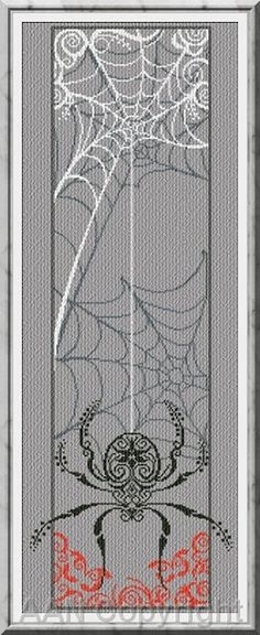 I'm typically pretty picky about Halloween patterns but I sort of like this one. (Spider Banner by Alessandra Adelaide. Counted Cross Stitch Patterns, Cross Stitch Charts, Cross Stitch Designs, Cross Stitch Embroidery, Embroidery Patterns, Classy Halloween, Halloween Cross Stitches, Cross Stitching, Blackwork