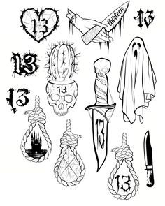 Live canvas tattoo flash sheet for Friday the cat and rabbit - Flash Art Tattoos, 13 Tattoos, Retro Tattoos, Kritzelei Tattoo, Tattoo Flash Sheet, Spooky Tattoos, Doodle Tattoo, Tattoo Style, Unique Tattoos