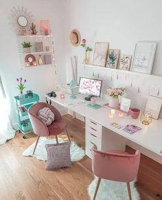 Home Room Design, Home Office Design, Home Office Decor, Home Decor, Creative Office Decor, Craft Room Design, House Design, Girl Bedroom Designs, Room Ideas Bedroom