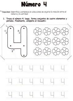 El número 4: 5 años - Material de Aprendizaje Kindergarten Reading Activities, Preschool Writing, Numbers Preschool, Math Numbers, Kids Learning Activities, Color Activities, Educational Activities, Worksheets For Playgroup, Spanish Teaching Resources