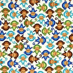 Robert Kaufman premium laminate fabric little monkeys 2